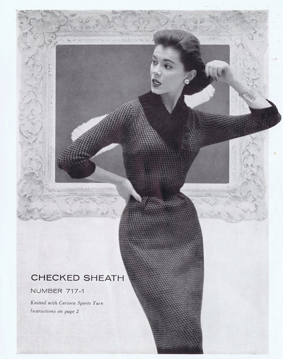 Checked Sheath Dress Vintage Knitting Pattern PDF, 1950s by VintagePatternPlace