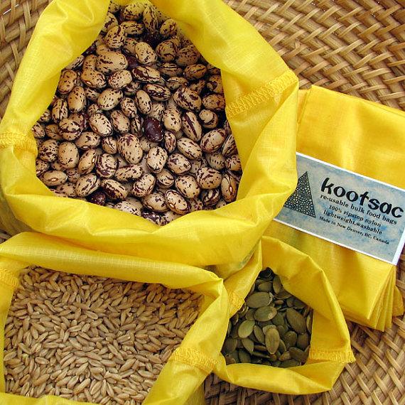 Reusable food bag, reusable produce bags, bulk bin bags, food pouch, ripstop nylon bags, reusable grain bag, washable food bags, yellow by kootsac