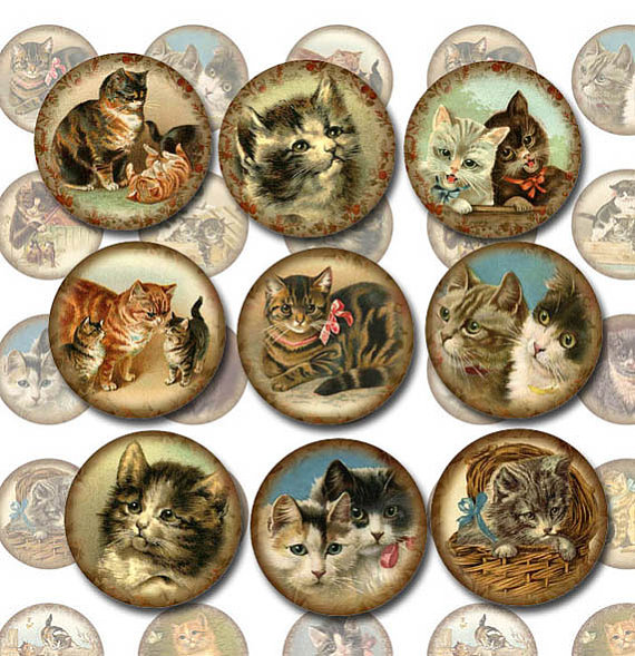 KiTTENS CaTS FeLINES- Vintage Art 1 inch Circles for Jewelry, Scrapbooking-Printable Collage Sheet JPG Digital File -BUy ONe GEt ONe FREE by thephotocube