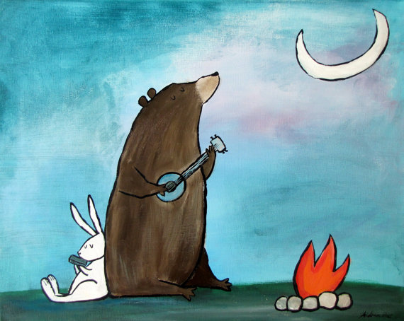 Campfire Bear Camping Woodland Animals Kids Art Print Wall Nursery Decor by andralynn