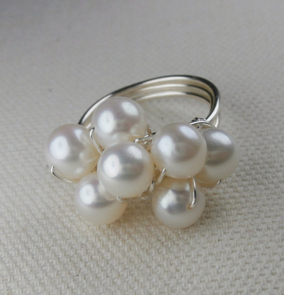 Pearl Ring, Silver Wire Wrap Cluster, Dainty, Dressy, Formal, Bridal Jewelry, White Wedding Jewelry, Feminine, FRESHWATER by Meditations