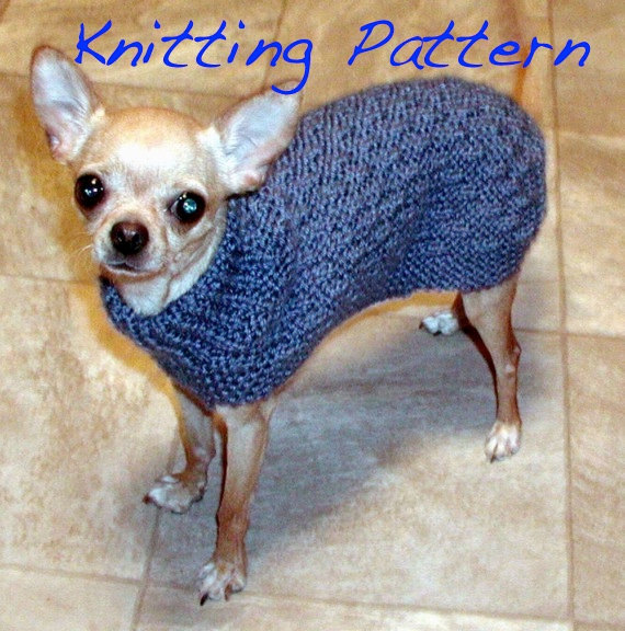 Immediate Download – PDF Knitting Pattern Basketweave Dog Sweater – Chihuahua Min Pin Yorkie Puppy by ozarknomad