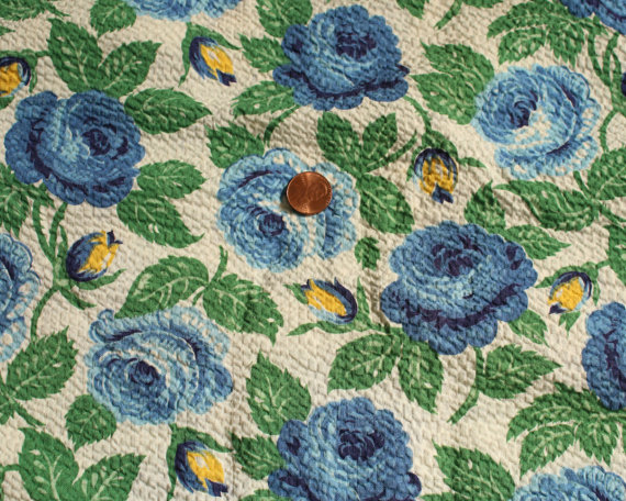 1/2 yard 1930 Vintage cotton rose seersucker fabric blue yellow white flowers 31 & quot; 1940 wide material sewing quilt dress wiggle by duchesstrading