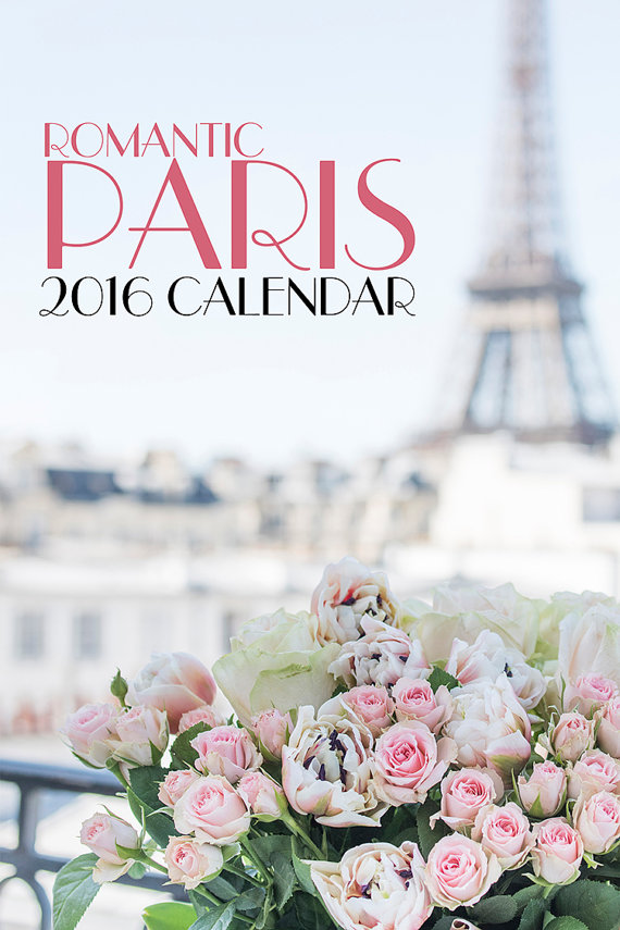 2016 Paris Photo Calendar - Romantic Paris, Eiffel Tower, Macarons, Carousel, Twinkle Lights, Loose Leaf Desk Calendar, Wall Art by GeorgiannaLane