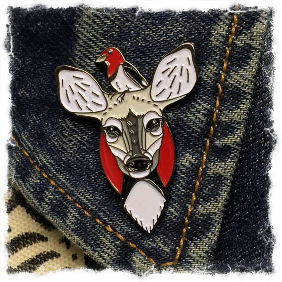Deer and Woodpecker- enamel lapel pin- SINGLE ITEM by jammerdesignz