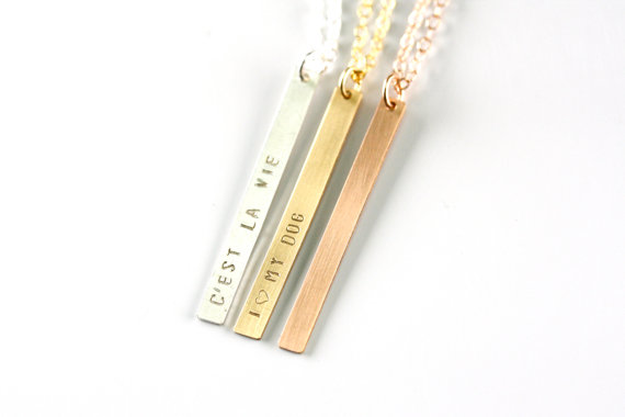 Personalized Vertical Bar Necklace, Dog Tag Necklace, Thin Vertical Monogram Necklace Rose Gold, Long Sterling Silver Date Necklace by FreshyFig