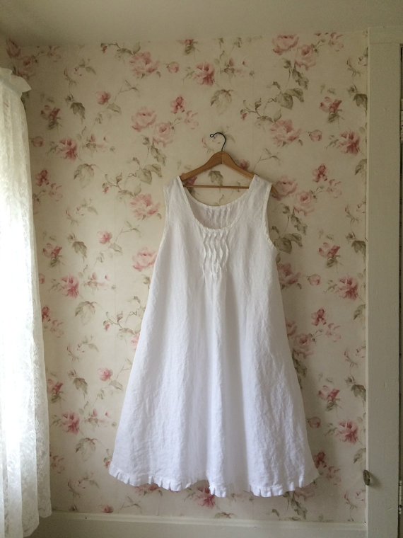 Washed Linen Long Slip Dress Pintucked Ruffled Nightgown Night Dress Sweet Prairie Lagenlook Ready To Ship 44 Bust by SWEETBEARIESVINTAGE
