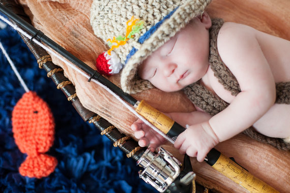 7bd2f35be94e5 Crochet newborn 0-3 month baby fishing fishermen fisherman hat with fish boy  or girl great photography photo prop by JACLYNROSEBOUTIQUE