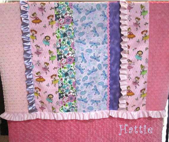 Girl Baby Quilt, Pink Purple Scrappy Ruffle Blanket, princess personalized minky, embroidered child name, crib blanket, rick rack, ballerina by KNHDesigns