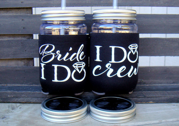 Bachelorette Cups - Bride Cup- Bachelorette - Bridal Party, I do Crew, Black by Celebr8tions