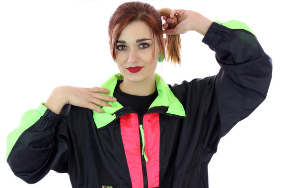 80s Colorblocked Windbreaker Jacket 90s Vintage Black Neon Green Red 1980s 1990s Colorblock Workout Running Surf Unisex Mens Womens Large L by neonthreadsdesigns