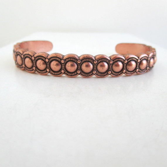 Southwestern Solid Copper Cuff Bracelet - Raised Texture w / Stamped Arrow Designs by lucra