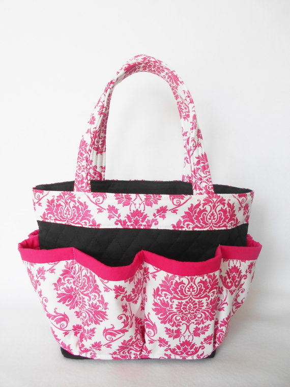 Glitter Hot pink Damask Print Bingo Bag with Pink Trim // Craft Organizer // Makeup Organizer // Caddy // Teacher Tote // Nurse Tote by sewtrendyrose