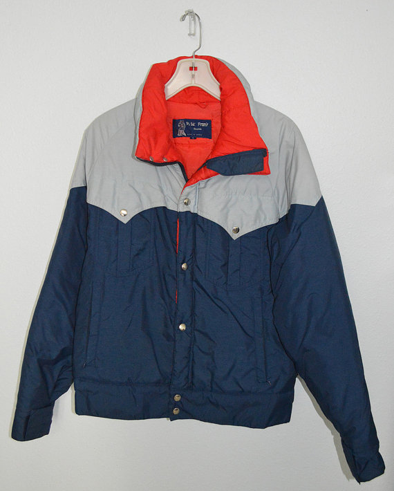 HIT THE SLOPES - vintage 70s designer Peter Frank of Seattle ski jacket - red blue gray - large by lovedovevintage
