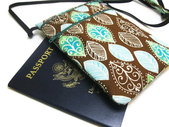 Small travel pouch, Neck wallet, Passport Holder, Small sling bag, Travel Accessory, Zipper Pouch - Multi Leaves - Brown, Green, Teal, White by KapomCrafts