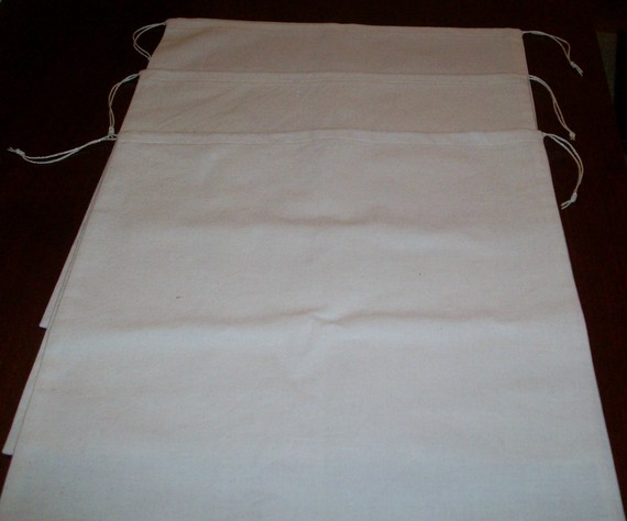 4 Large Reusable Drawstring Cotton Muslin Bulk Grains Nuts Produce Storage Bags by Joyce1492
