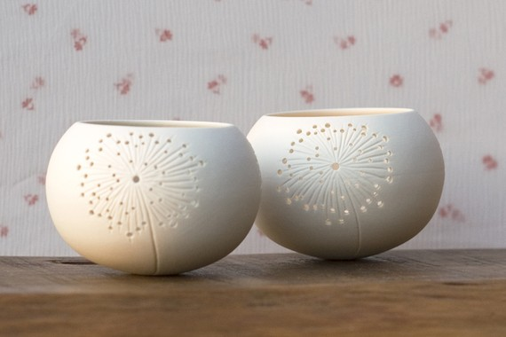 Ceramic candle holder, dandelion design. porcelain tea light Delight Collection - N.5 design by Wapa Studio. by wapa