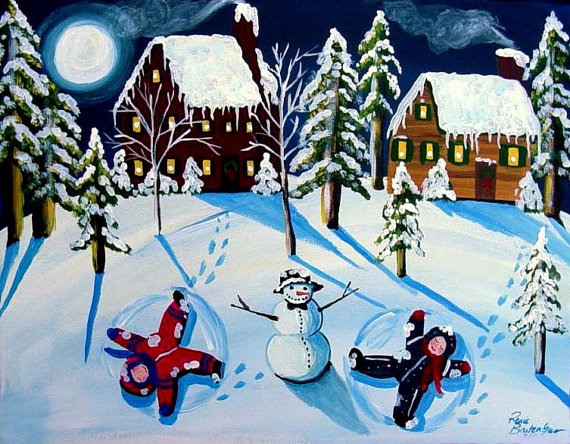 Snow Angels Snowman Kids Fun Whimsical Winter Folk Art Canvas Original Painting by reniebritenbucher