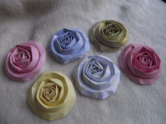 Scrapbook Flowers … 6 Piece Set of Very Sweet and Dainty Shabby Chic Scrapbook Paper Flower Rolled Roses by JudeAlyssaMarkus
