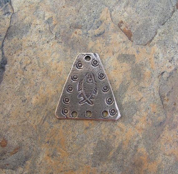 Bronze 3-hole Fish Pendant by karleenlykken