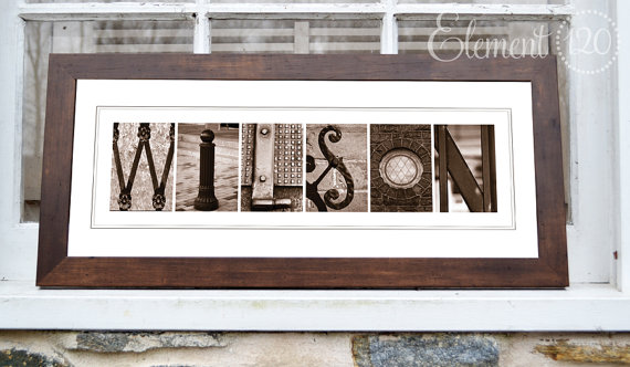 Alphabet Sepia Letter Art Photography - Framed - Personalized with your Last Name - 8x20 Brown Frame by Element120photos