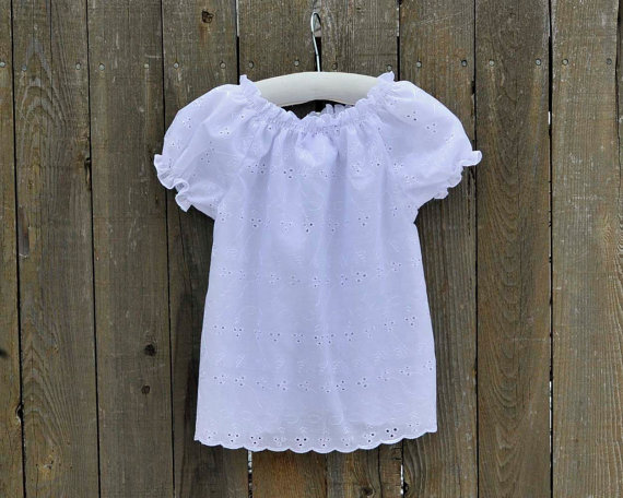 Girls White Eyelet Peasant Shirt, top, blouse..Rustic Wedding, Ivory Eyelet … Eco-friendly … 12m, 18m, 2t, 3t, 4t, 5,6,7,8, 10 by SageNThymeDesigns