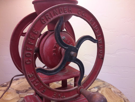 CAST IRON EAGLE Mill Coffee Grinder No. 12 Ridgewood Patented 1875 Red With Wood Handles Electrified Lamp Rare Store Display by vintagesouthwest