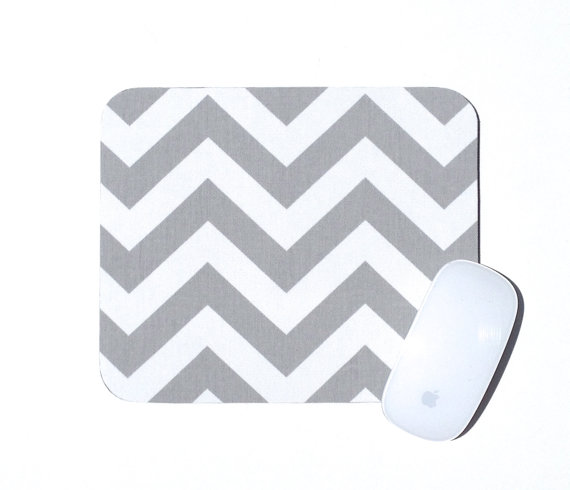 Chevron Mouse Pad Gray And White Home Office Decor Zig Zag