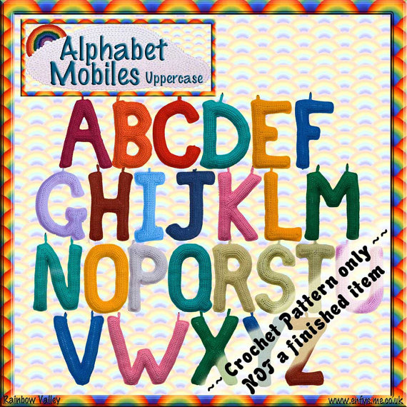 PDF Crochet Pattern Alphabet Mobiles Uppercase by RainbowValleyCrochet