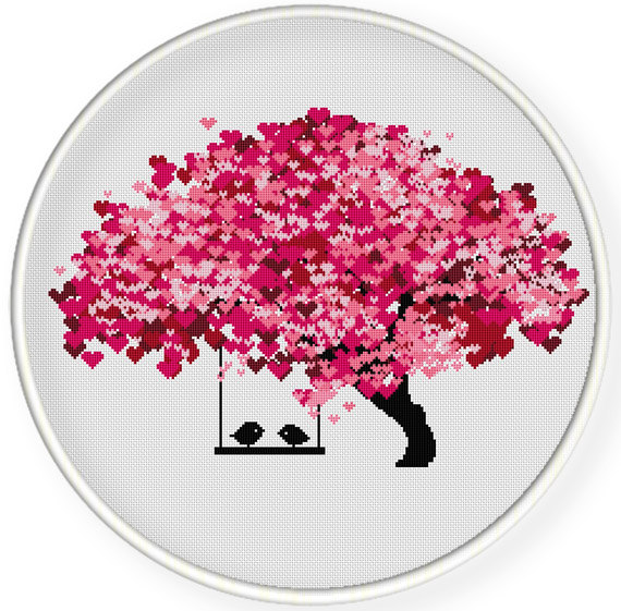 INSTANT DOWNLOAD, Free shippingCounted Cross-Stitch PDF, Love birds kiss on heart tree, valentine's day, wedding, zxxc0597 by danceneedle