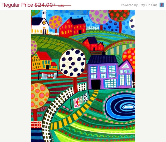 Landscape Art - Red Barn Art FOLK ART Art Poster Print of painting by Heather Galler Art of Painting by HeatherGallerArt