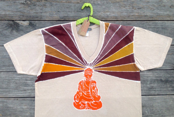 65d1a68ef0 Buddha hand dyed Men's Clothing tan meditation organic t shirt yoga v neck  men hand drawn hand painted yoga clothes XS, S, M, L, XL, XXL, 3XL by  BAGANUS