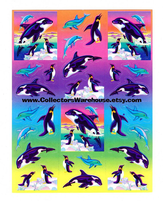 Lisa Frank Max Splash the Killer Whale Sticker Sheet S269 vintage dolphins penguins by CollectorsWarehouse