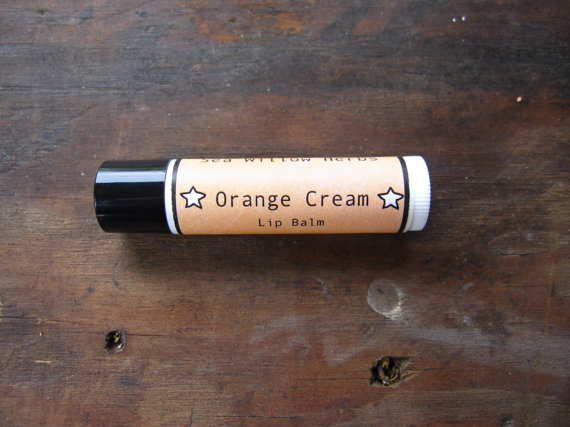 Herbal Lip Balm // Orange Cream // Handmade Organic with Essential Oils // Stocking Stuffer // Mustard Yellow // Citrus by seawillowherbs