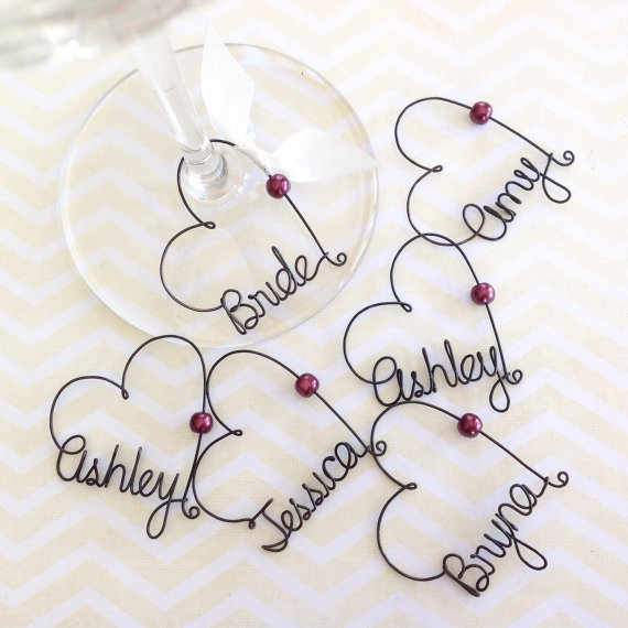 Bridal Shower Favors, Wedding Favors, Personalized Wine Charms, Custom Wine Charms, Party Favors - wine chams by kraze4paper