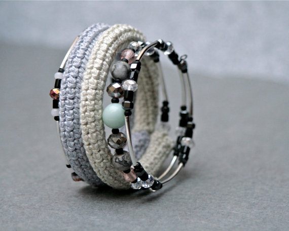 coil crochet bracelet in shades of grey by byMarianneS