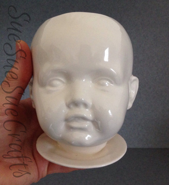 Gloss white Glazed Doll head ceramic planter Love this Baby # 35 by SueSueSueCrafts