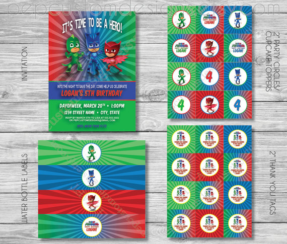 DIY - Printable: PJ Masks Birthday Party Set - 16 items (invitation, party circles, water bottle labels, banner and more) by PepCustomDesigns