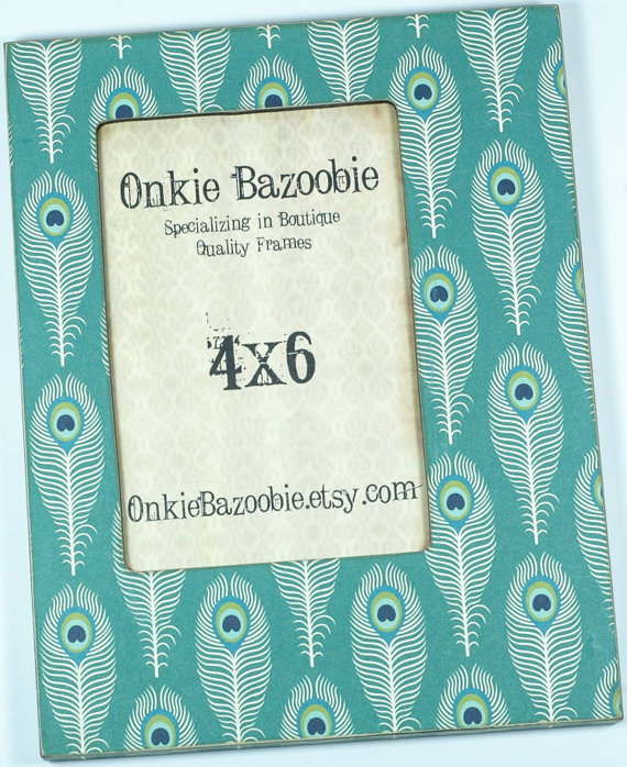 Peacock Feather Picture Frame, Feather photo frame 4×6 by OnkieBazoobie