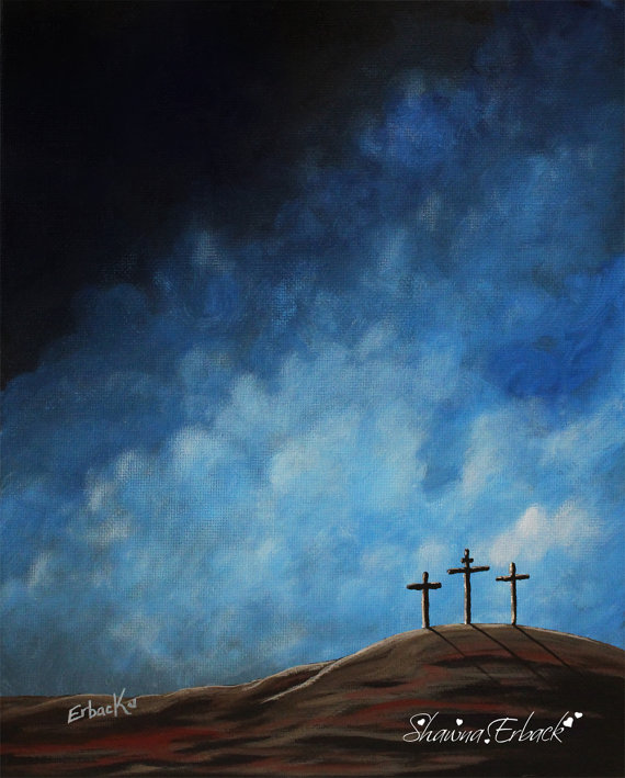 Christian Painting, Original Paintings, 8x10 Painting, God, Jesus Art, Cross, Calvary, Big Sky Paintings, Inspirational by shawnaerback
