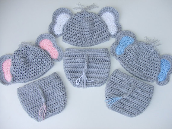 Crochet Baby Elephant Hat & Diaper Cover, You Pick Size and color, Photo Prop, Ready to Ship by donnascrochet