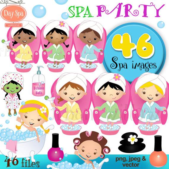 Spa Party / Day Spa - 46 piece clip art set in premium quality 300 dpi, Png and Jpeg & Vector files. by urbanwillow