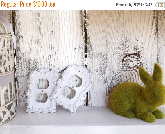 Spring Sale Light Outlet Cover / Outlet Cover Plate / Shabby Chic / Decorative Outlet Switch Plate Cover / YOUR CHOICE COLOR by Theshabbyshak