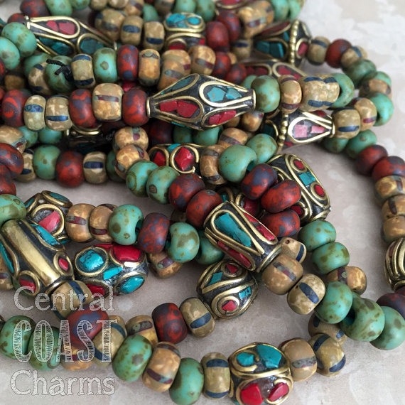 Bohemian Mix - Aged Striped 32/0 Czech Glass Seed Beads & Tibetan Brass Coral Turquoise - 7 Inch Strand - You Choose - Central Coast Charms by CentralCoastCharms