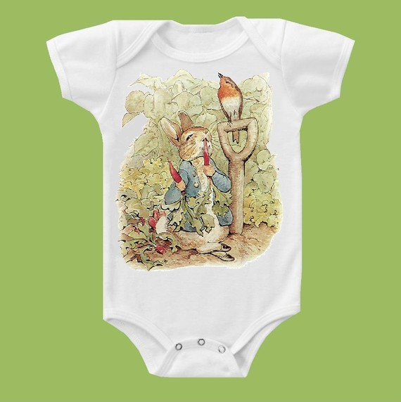 Peter Rabbit One Piece Baby Bodysuit, Peter Rabbit Baby Shower Gift, Beatrix Potter Peter Rabbit one piece T-Shirt by ChiTownBoutique.etsy by ChiTownBoutique