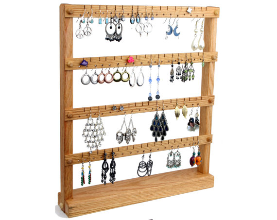 Oak Wooden Jewelry Holder – Earring Holder Stand. Holds up to 72 pairs of Earrings. Jewelry Display – Jewelry Organizer by TomsEarringHolders