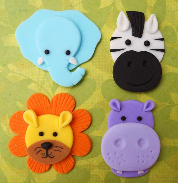 12 JUNGLE ANIMALS. Edible Fondant Cupcake Toppers - Elephant, Zebra, Lion & Hippo by SWEETandEDIBLE