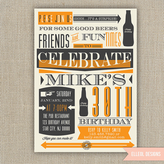 21st, 30th, 40th, 50th, 60th Surprise Beer Birthday Party Invitation by ElleOL