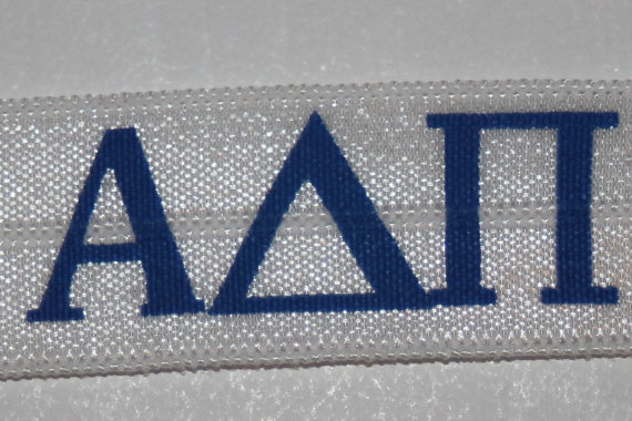 1, 4, or 10 Navy Blue White Alpha Delta Pi sorority headband DIY Hair Ties FOE stretch foldover fold over elastic by LaceAndTrims