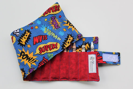 Super Hero Crayon Roll Up for Boys - with Velcro OR Ribbon Closure (Your Choice) - Boy Birthday Present - Little Boy Gift Easter Basket by ckstitches